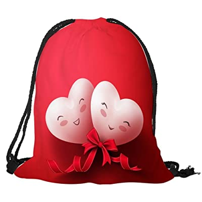 TOOGOO Valentine's Day Digital Print Bundle Backpack bag with rope backpack Cute heart / bow