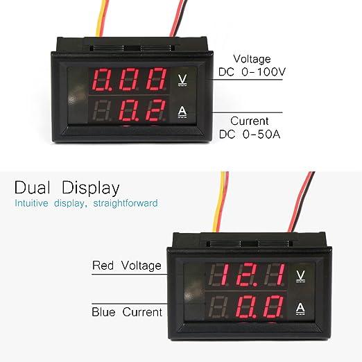 voltm/ètre double affichage actuel testeur de tension DC 0-100V Droking Mini Digital amp/èrem/ètre 50A Batterie de voiture Moniteur Affichage LED avec Shunt actuel rouge + rouge