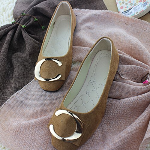 Women's buckle shoes Brown bottom shallow metal casual flat thin mouth qrCAgq