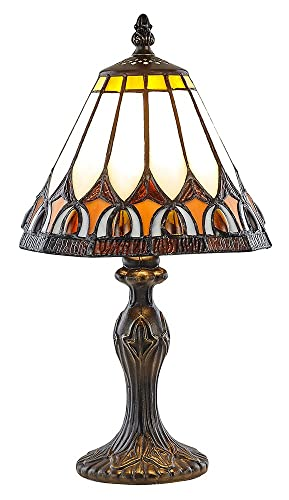 Haysoms Art Deco Tiffany Table Lamp With Amber Shade Orange