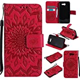 KKEIKO Galaxy J3 2017 Case, Galaxy J3 2017 Flip Leather Case [with Free Tempered Glass Screen Protector], Shockproof Bumper Cover and Premium Wallet Case for Samsung Galaxy J3 2017 (Red)