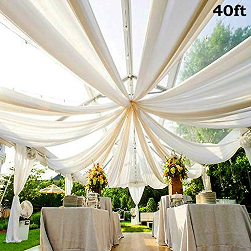 Efavormart 40FT Fire Retardant White Sheer Voil Curtain Panel Backdrop - Premium Collection