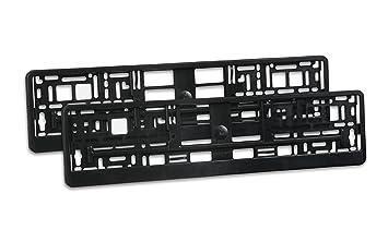 Soporte Matrícula Negro (Mate) - 2 x para matrícula sin publicidad - kennzeichenhalterung con tira extraíble: Amazon.es: Coche y moto