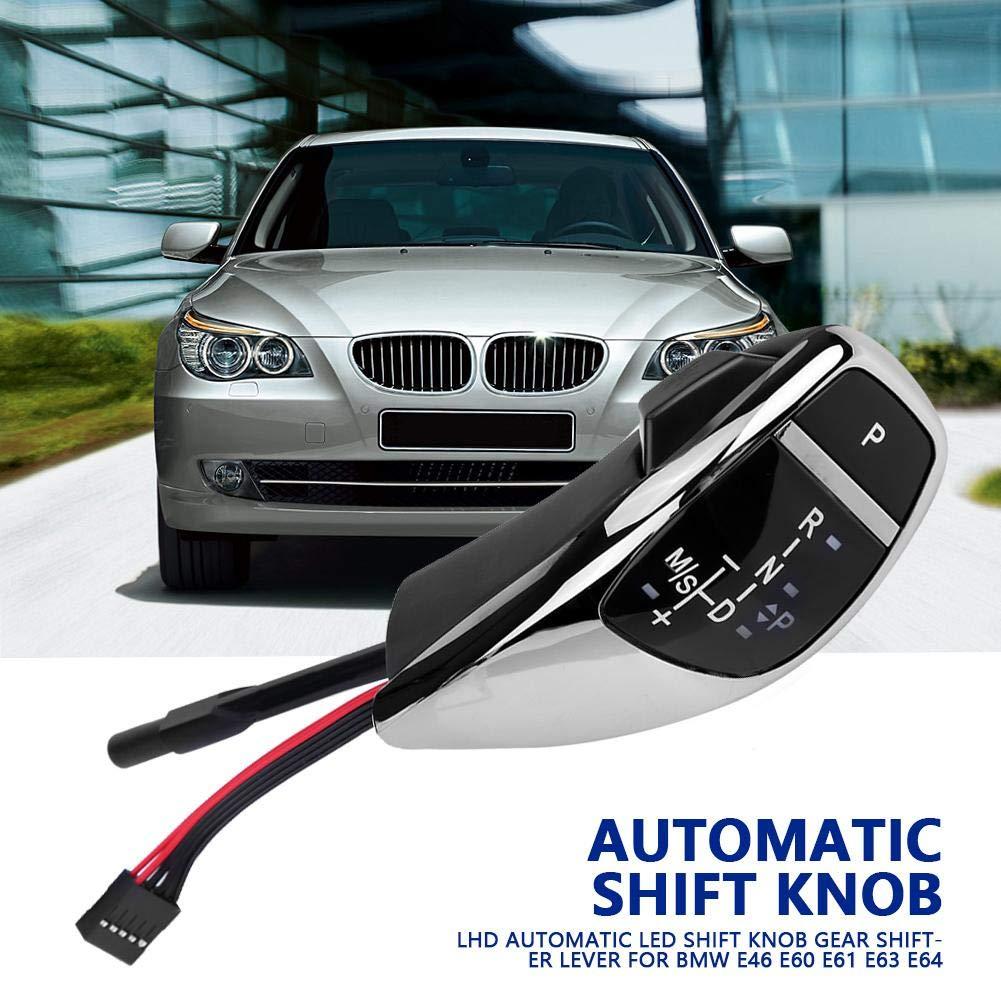 Acouto Automatic LED Gear Shift Knob Manual Shifter Knob for BMW E46 E60 E61 E63 E64 Chrome Black