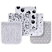 5 Pack Baby Burp Cloths Organic Cotton Towels Triple Layer Soft Absorbent Burping Rags (Grey and White)