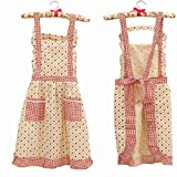 Hot Stylish Flower Pattern Women's Fashion Floral Cotton Chef Cooking Cook Apron Bib with Pockets 7# Hyzrz