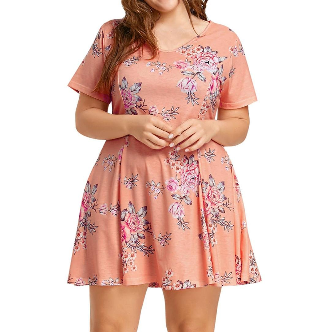 Plus Size Dress SanCanSn Women Short Sleeve O Neck Floral Printed Beach Evening Party Dress(Orange ,XL)