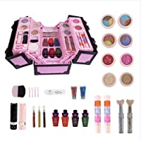 Awhao 23 Pcs Simulated Cosmetic Case Make Up Set Beauty Case Water Solubility Cosmetic Case Toys Birthday Gift