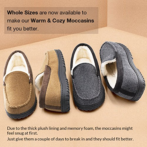 8cf15fcedf Men's Comfy & Warm Wool Micro Suede Plush Fleece Lined Moccasin Slippers  House Shoes Indoor/
