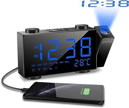 SZMDLX Despertador con proyector y radio FM, reloj despertador ...