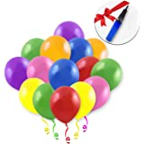 Nudic 12 Inch Latex Party Birthday Balloons Bright Metallic Assorted Colour (120 Pcs) Included with Free Balloon Pump Perfect Party Balloon Pack for Decoration, Anniversary, Wedding & Celebrations