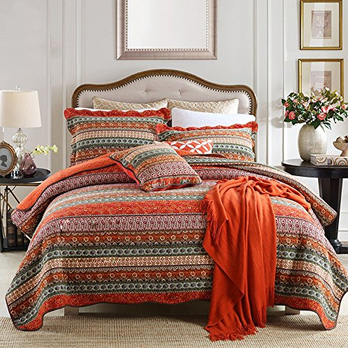 NEWLAKE Striped Classical Cotton 3-Piece Patchwork Bedspread Quilt Sets, Queen