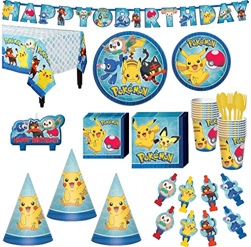 Pokémon Core Birthday Party Kit, Includes Happy Birthday Banner, Candles and Party Hats, Serves 16, by Party City ()