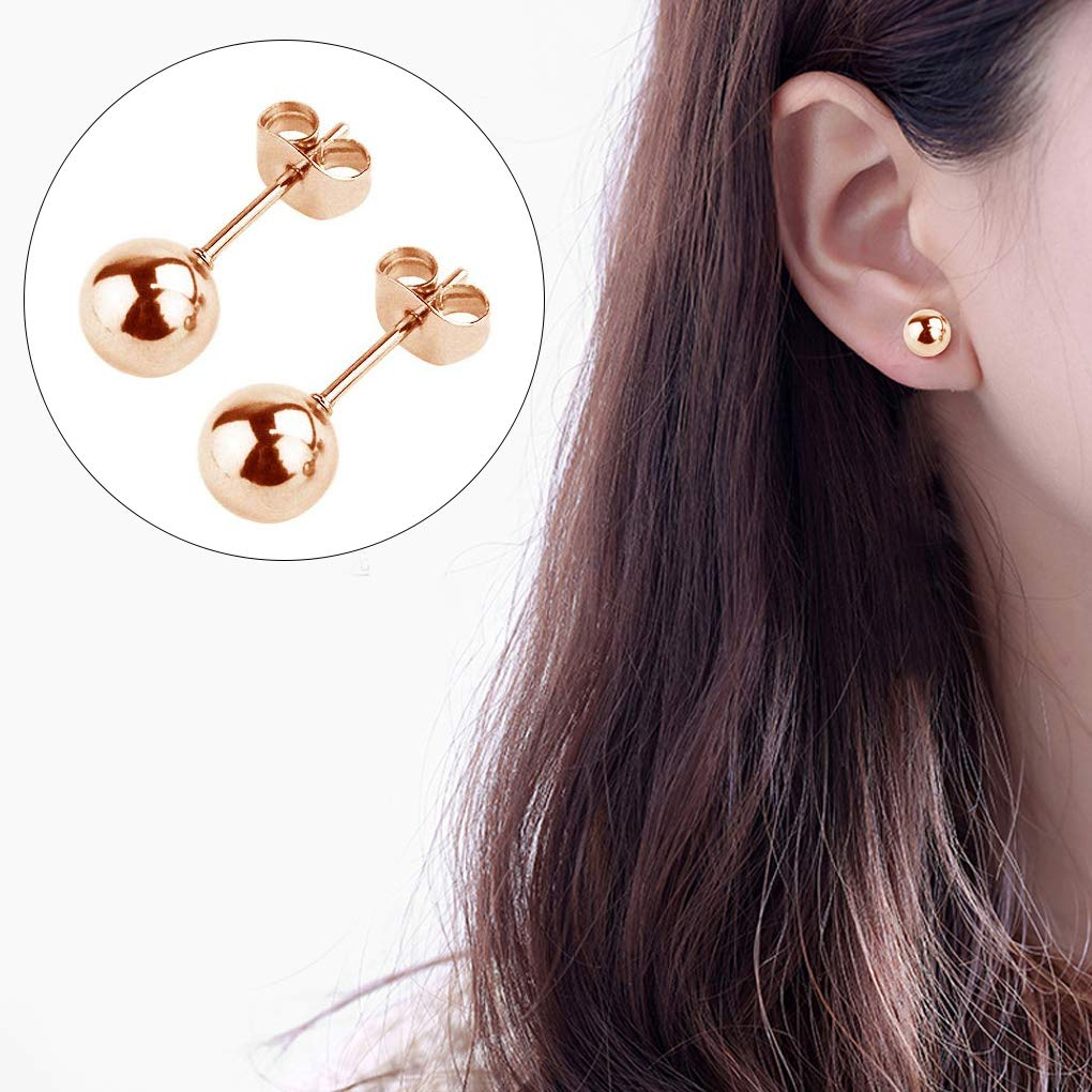 HOVEOX 10 Pairs Stud Earrings Set Round Ball Stainless Steel Silver and Rose Gold Mixed Color Stud Earrings for Men Women Boys and Girls