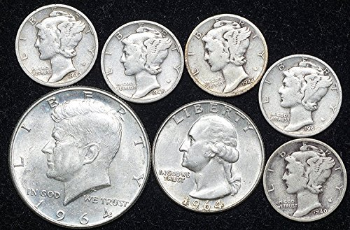 1900 Era 90% Silver Coin Lot Kennedy Half, Washington Quarter, 5 Mercury Dimes VG and Better ()