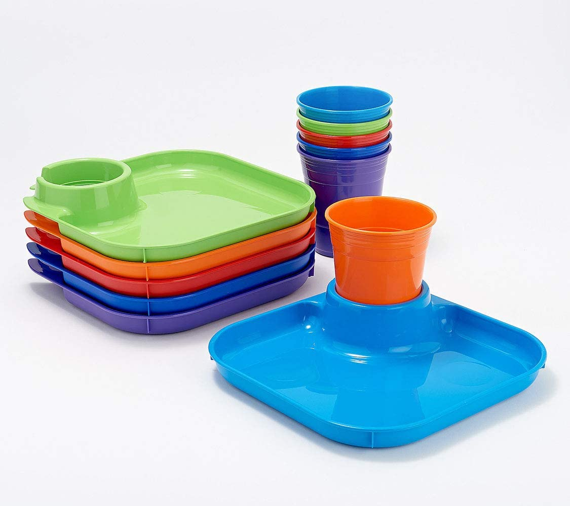 GREATPLATE - 6 Plates & 6 Cups (Square, Essentials) 12-Piece Food Tray & Beverage Holder Serving Set for Parties, Reusable Heavy Duty Plastic BPA Free