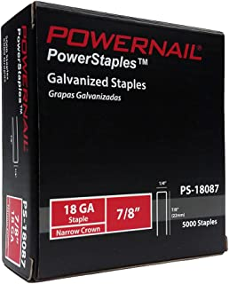 "product image for Powernail 18ga, 1/4"" crown, Chisel Point Narrow Crown Staple. 7/8""L. 5000ct box."