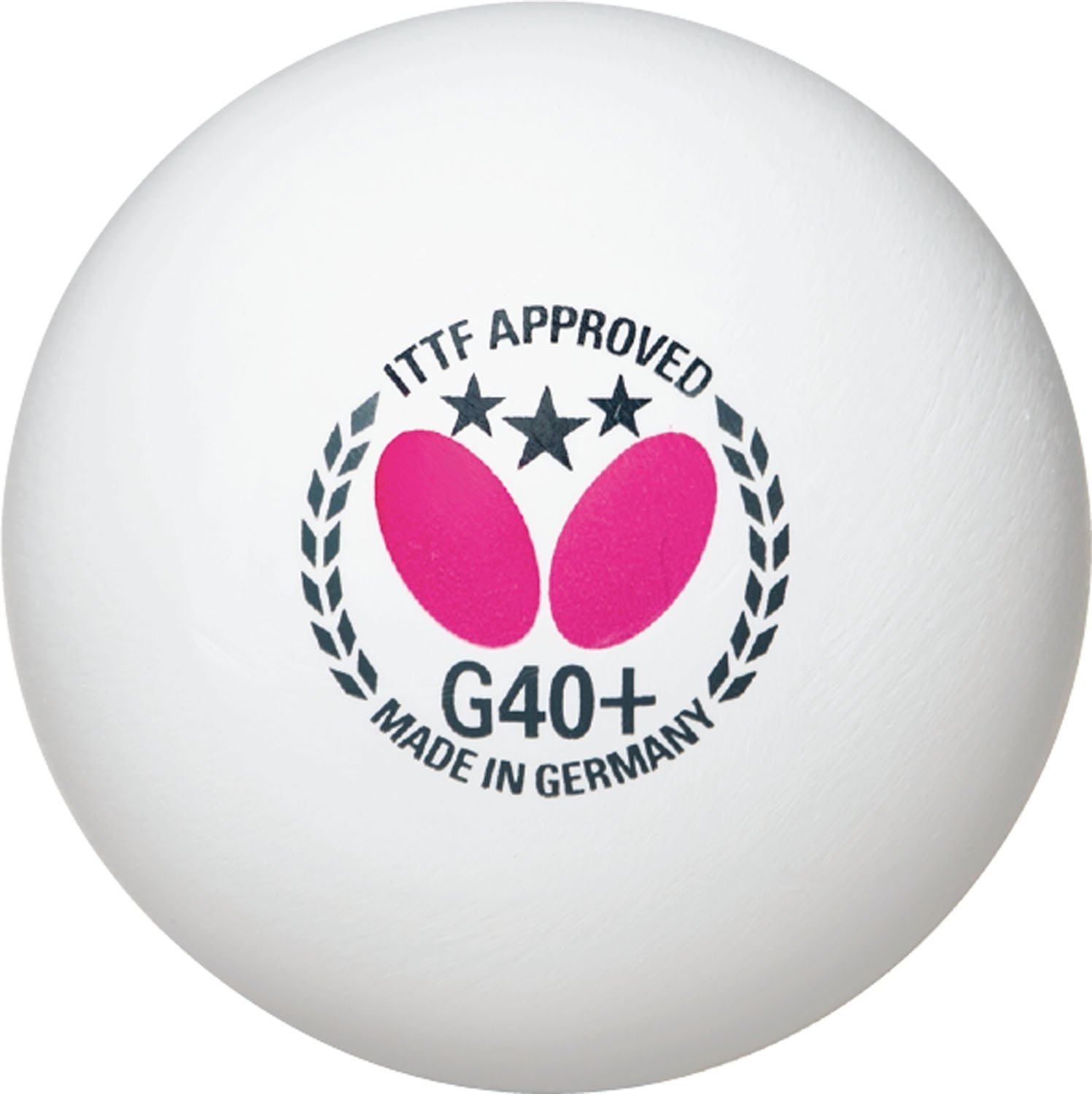 Butterfly G40+ 3 Star Table Tennis Balls (6 Pack) - White - ITTF Approved