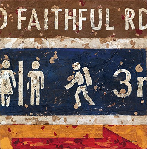 Old Faithful Road Park Sign Art - Americana Nostalgic Wall Art by Aaron Christensen Stretched Canvas Reproduction- Authentic Artist Direct. Mulitple sizes listed. Made in my Portland, Oregon studio. Embellishments Road Trip