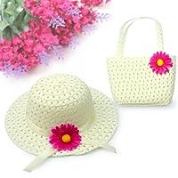 Primi Beauté Lovely Charm Princesse Paille bébé fille Chapeau de soleil d'été Fleur capuchon et sac à main (Blanc)