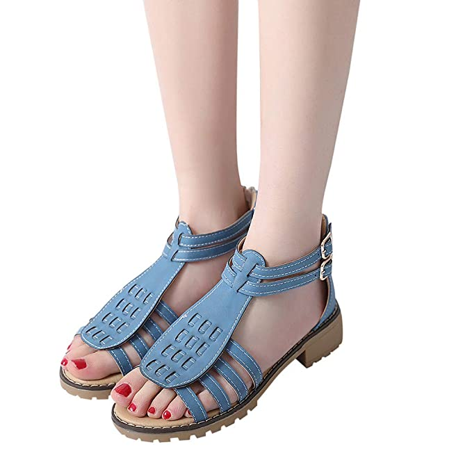 f71b2bd075f8 Womens Bohemian Style Casual Sandals Mid Heel Platform Shoes Summer Beach  Roman Sandals (US