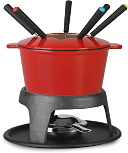 Artestia Cast Iron Fondue Set, 11-Piece, Serve 6 Persons (Red)