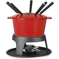 Artestia Cast Iron Fondue Set, 11-Piece, Serve 6 Persons (Red)