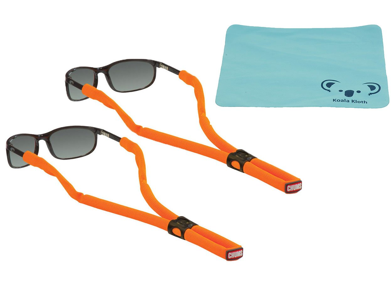 Koala Lifestyle Chums Classic Glassfloats Floating Eyewear Retainer Sunglass Strap | Eyeglass & Glasses Float | Water Sports Holder Keeper Lanyard | 2pk Bundle + Cloth, Neon Orange by Koala Lifestyle