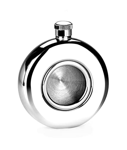 5 oz BROUK /& CO 2154 The Roundhouse Stainless Steel Flask with Transparent Glass Window Silver