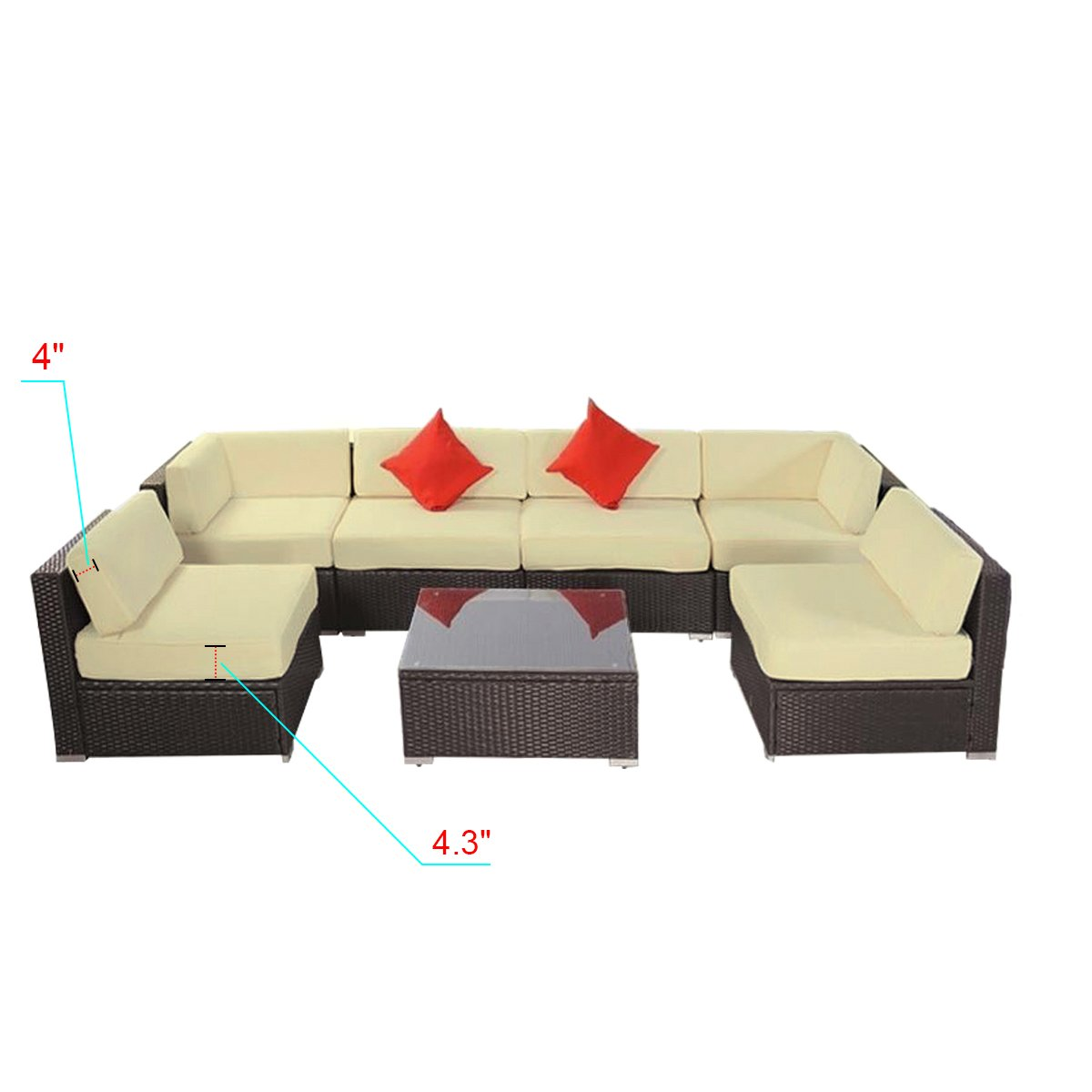 7pcs Polar Aurora Outdoor Patio Furniture Rattan Wicker Sectional Sofa  Chair Couch Set Deluxe (Brown