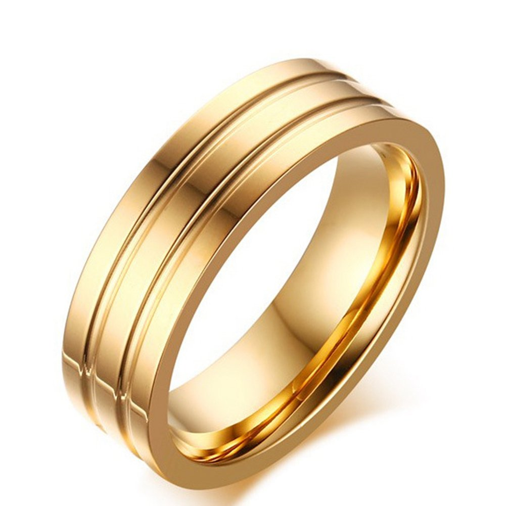SAINTHERO Men's Wedding Bands Classic 6MM Titanium Steel 18K Gold Plated Forever Love Promise Rings for Him High Polished Comfort Fit Size 8