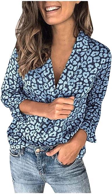 VJGOAL Blusa de Mujer Moda Leopardo Impreso Cuello en V Botones de Manga Larga Tops Camisas Sueltas Casuales: Amazon.es: Ropa y accesorios