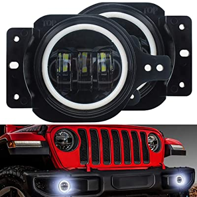 "KUQIQI Upgrade 4"" Round LED JL Fog Light With Halo DRL for Jeep Wrangler JL 2020 2020 with Bracket White Daytime Running Light (1 pair): Automotive"