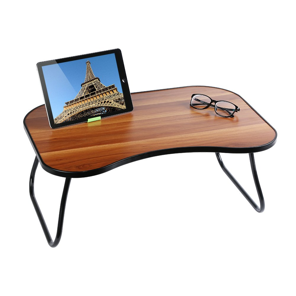 HOME BI Laptop Table for Bed, 23''x15''x9.65''(Large Size), Multifunction Lap Desk With Foldable Legs and Portable Size, Fit for 17'' Laptop or Smaller (Brown)
