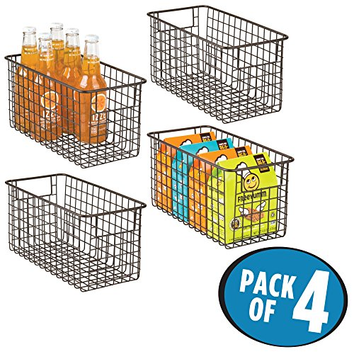 mDesign Household Wire Storage Organizer Bin Basket with Built-In Handles for Kitchen Cabinets, Pantry, Closets, Bedrooms, Bathrooms – 12″ x 6″ x 6″, Pack of 4, Bronze