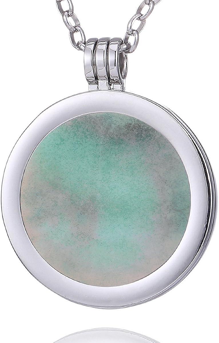 Morella Mujeres Collar 70 cm Acero Inoxidable y Colgante con Coin Moneda Amuleto de Piedra Preciosa Gema 33 mm Plato de Chakra en Bolsa de joyería