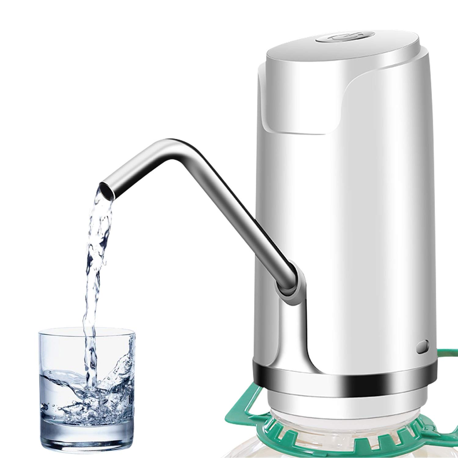 Bottled Water Pump, Abedoe Portable Barreled Water Electric Automatic Drinking Water Pump Dispenser with Switch Button, USB Powered, for Home and Office