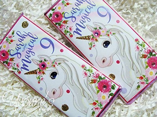 Unicorn Candy Bar Wrappers - Personalized Wrappers for Chocolate Bars - Unicorn Themed Birthday for Child/Girl Birthday Party (SET OF (Personalized Chocolate Bar Wrappers)