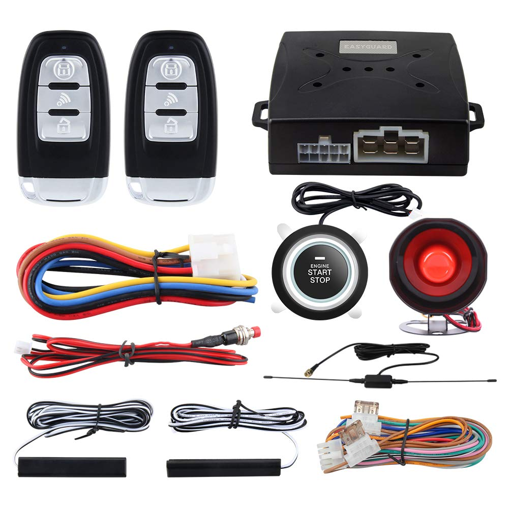 EASYGUARD EC003 Smart Key PKE Passive Keyless Entry Car Alarm System Push Start Button Remote Engine Start Universal Version DC12V by EASYGUARD