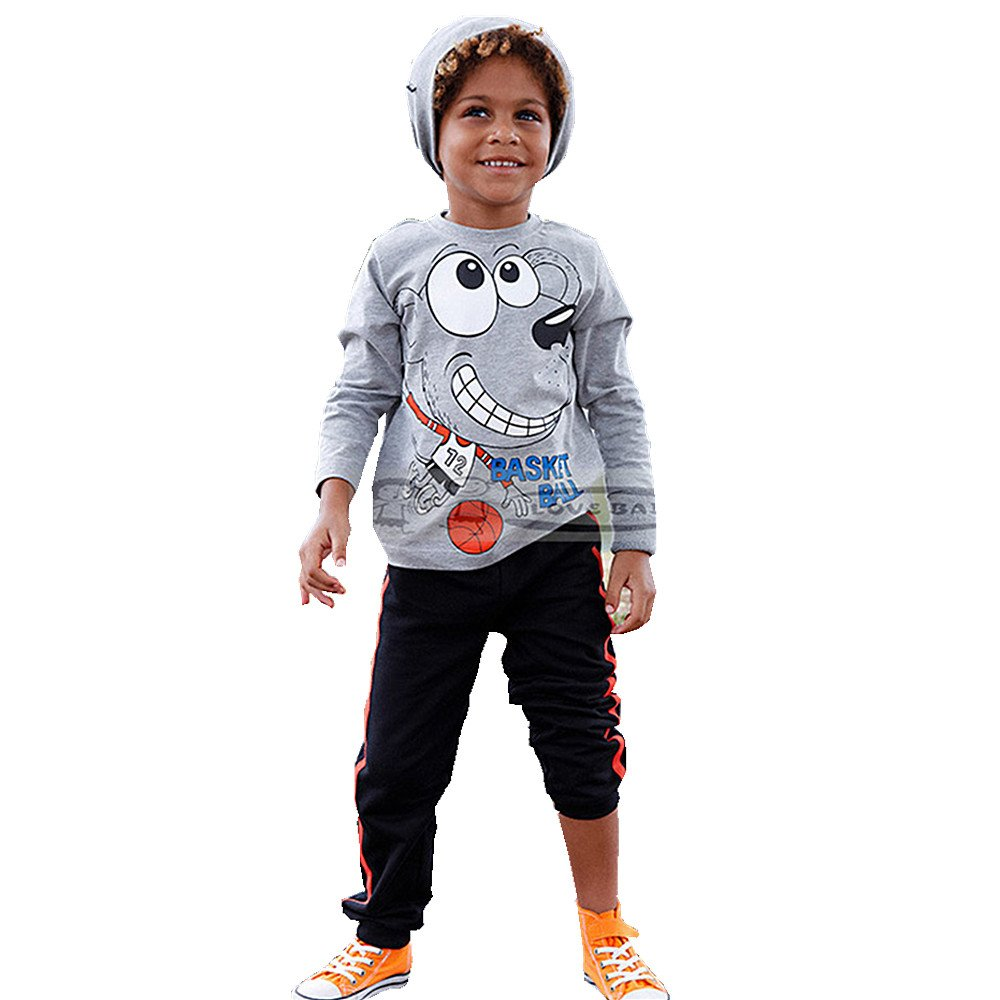 Wheat's baby home ® Baby Boys' 2-Piece Outfit Set Cartoon Print Long Sleeve Hoodie and Pants (3T)