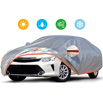 Audew Car Cover 210D Oxford Fabric Car Cover for All Weather Protection-Waterproof Windproof Snowproof UV Resistant with Adjustable Straps/Reflective Strips Fits Sedan L(180'' to 190''): Automotive