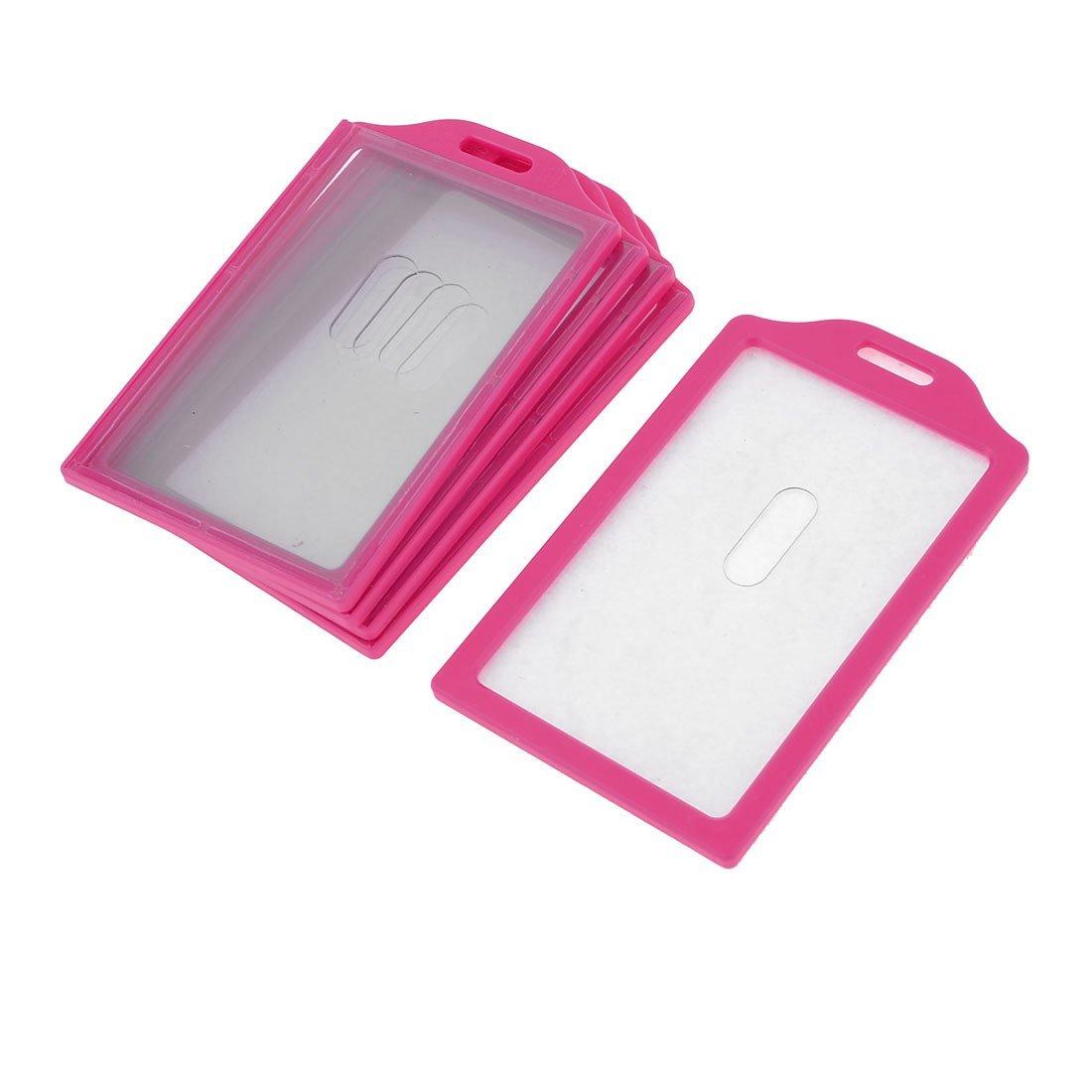 Uxcell Plastic Frame School Slide ID Card Holder, 84 x 52 mm, 5-Piece, Fuchsia