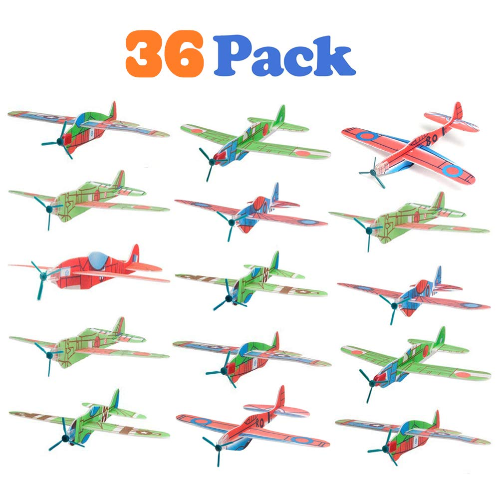 VCOSTORE 36 Pack Glider Planes, Flying Airplanes Models Party Favors Toys Random Pattern, Great Prize Styrofoam Airplane Set for Kids Gift Fun Outdoor Game
