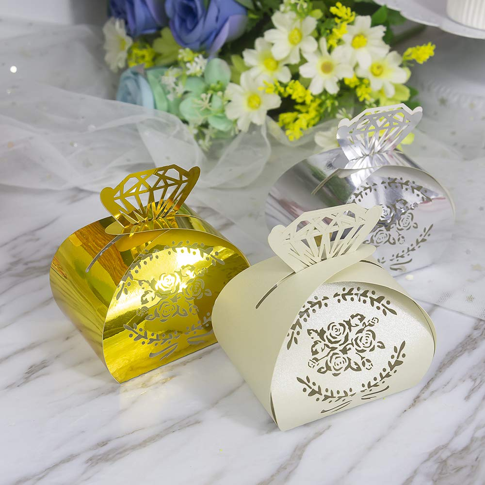 Ivory YOZATIA 50PCS Wedding Favor Boxes 2.6 x 2 Diamond Crown Ivory Gift Boxes Candy Holders for Birthday Party Wedding Favor