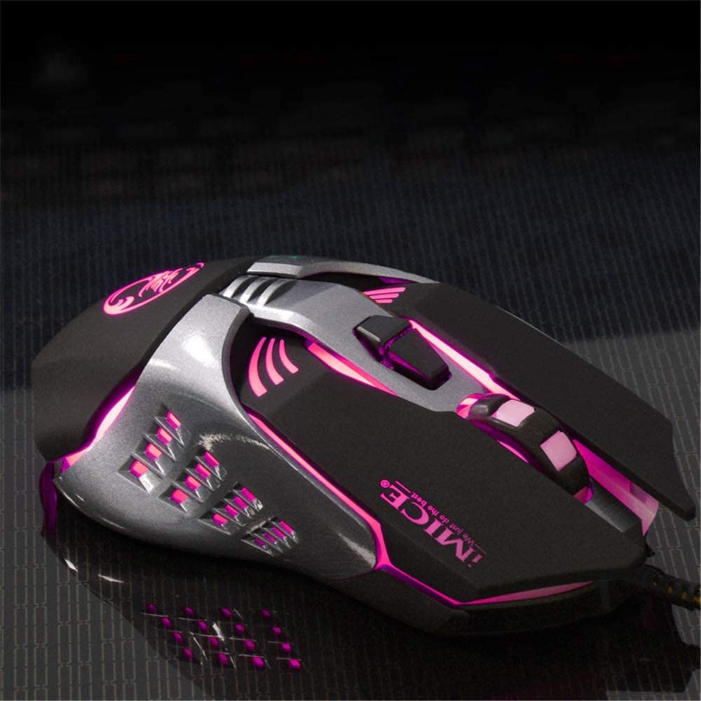 Color : Black Wireless Keyboard and Mouse Wired Mouse 4 Adjustable DPI Levels 1200//1600//2400//3200DPI Led Four Color Controlled Breathing Lamp 7 Buttons