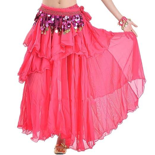 Ljleey-CL Falda de Baile para Mujer Falda for Danza del Vientre ...