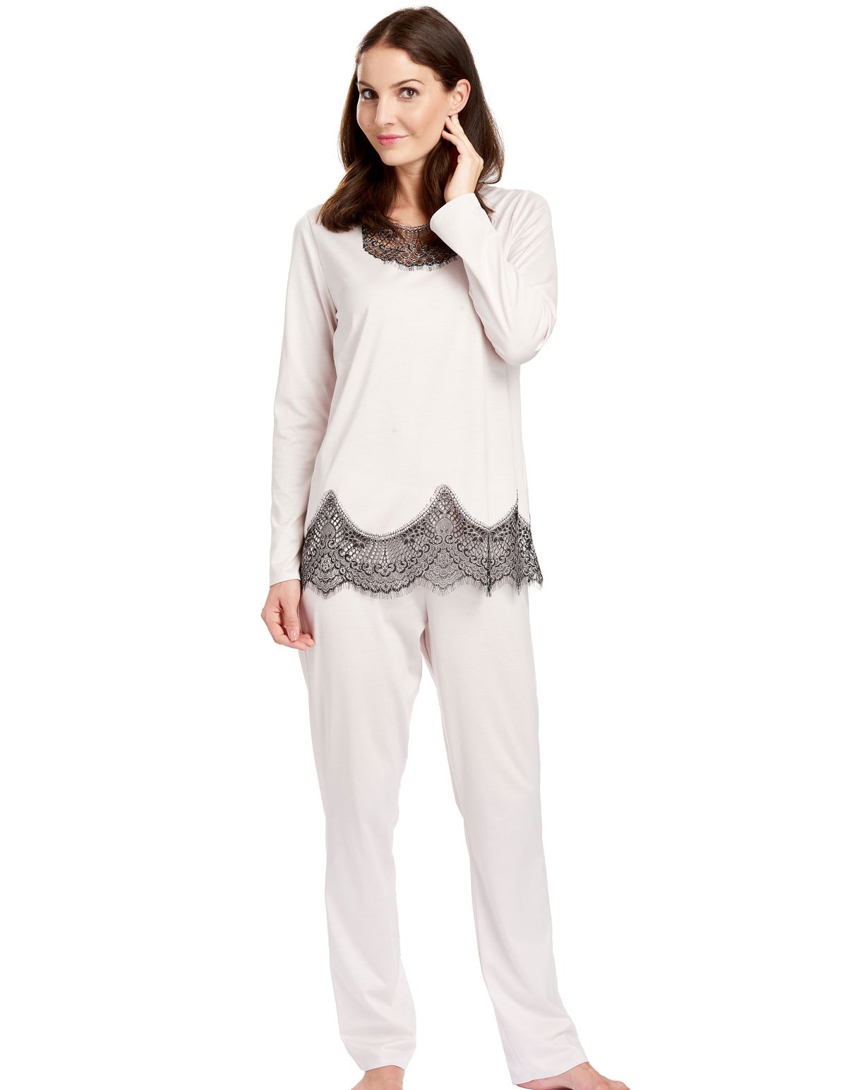 Feraud 3181003-11696 Women's Sail Away Beige Lace 100% Cotton Pajama Set 12