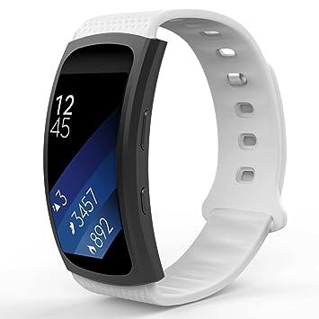 MoKo Samsung Gear Fit2 Correa, Fit 2 Pro Pulsera Deportiva Silicona Suave Reemplazo Sport Band para Samsung Gear Fit 2 SM-R360 Smart Watch, Blanco (3 ...