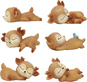 TA BEST 6 Pack Baby Deer Figurines Cake Toppers Animal Christmas Miniature Figurines Cute Doe Fawn Ornaments Cake Decoration for Baby Shower Birthday Anniversary