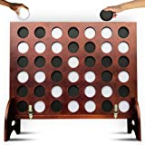 SWOOC Games - Giant Four in a Row (All Weather) Outdoor Game with Carrying Case and Noise Reducing Design - 60% Quieter - Jum